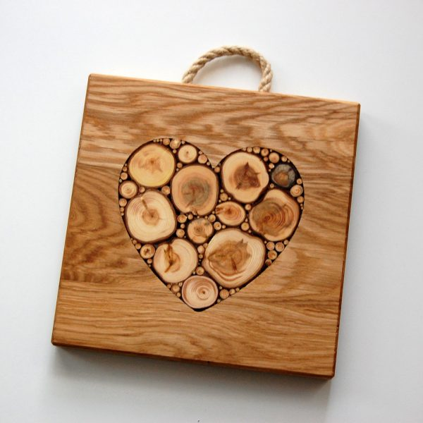 Oak and Juniper Heart Heatstand/Chopping Board